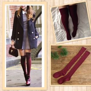 Accessories - Burgundy Wine Ribbed Over the Knee Socks